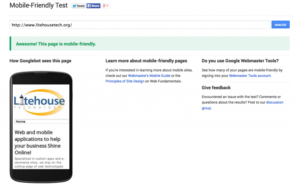 Google Mobile-Friendly Test Tool