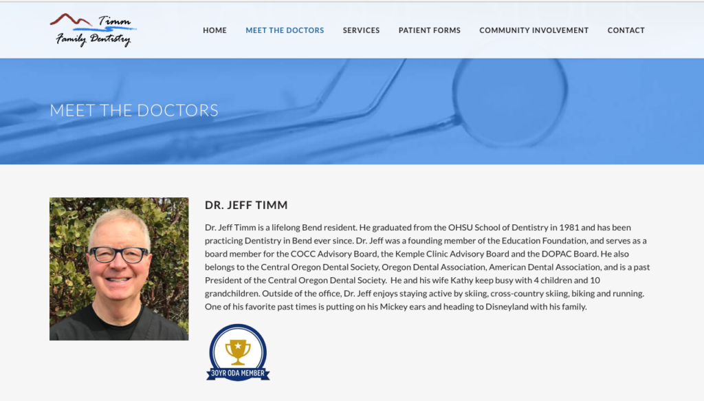 Redesigned Website for Timm Family Dentistry
