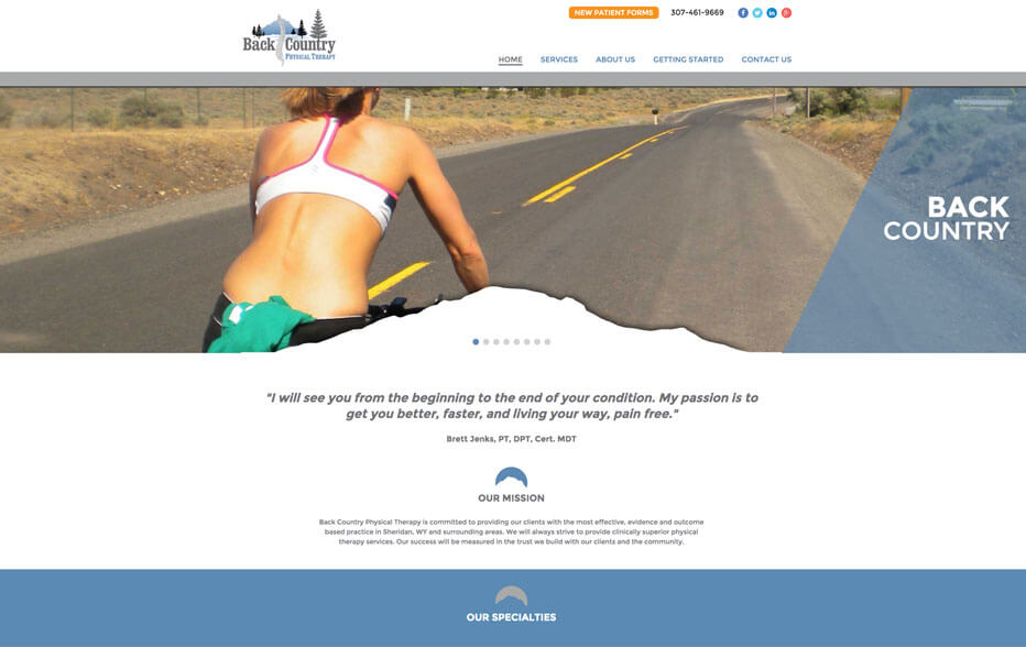 Back Country Physical Therapy Website on Laptop