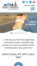 Back Country Physical Therapy Website on Phone
